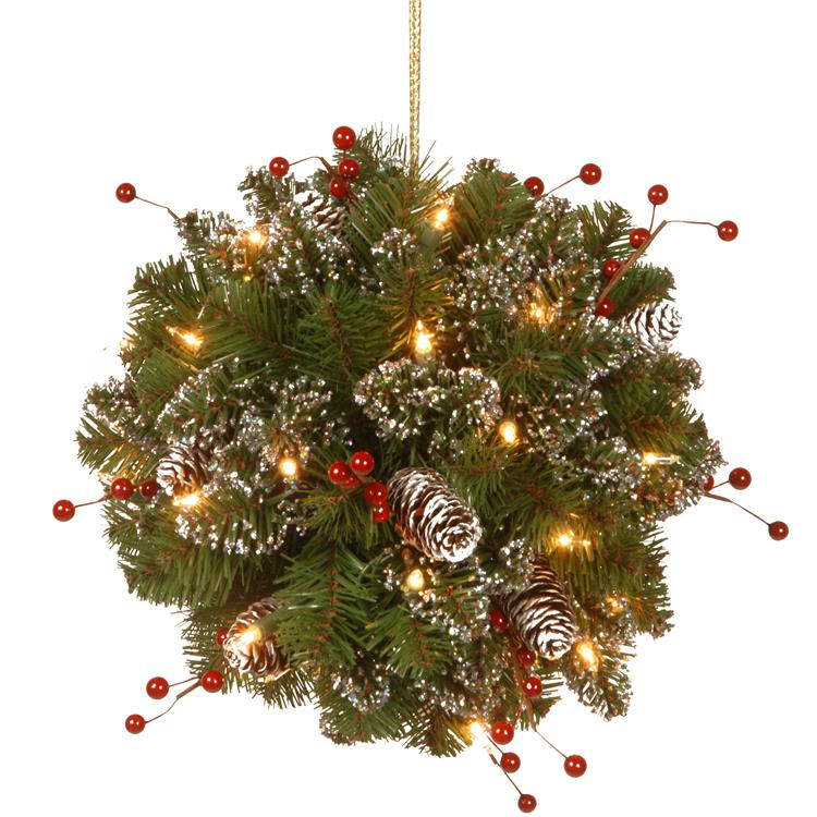 National Tree 12 inch Glittery Mountain Spruce Kissing Ball with Battery Operated Warm White LED Lights
