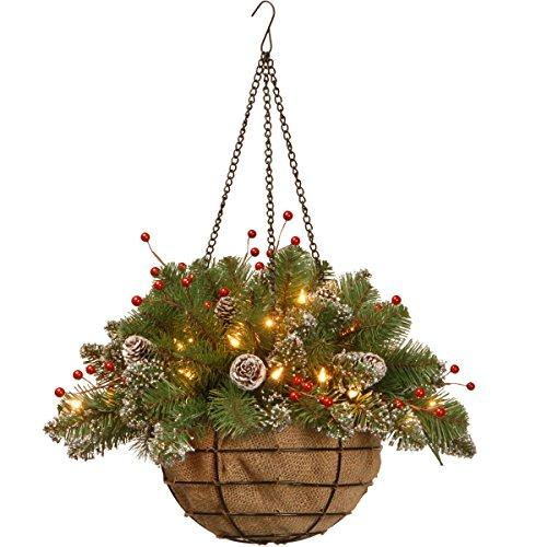 National Tree Glittery Mountain Spruce Hanging Basket with Battery Operated Warm White LED Lights
