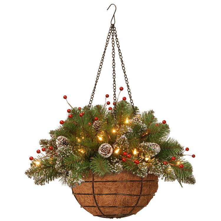 National Tree 20 inch Glittery Mountain Spruce Hanging Basket with Battery Operated Warm White LED Lights