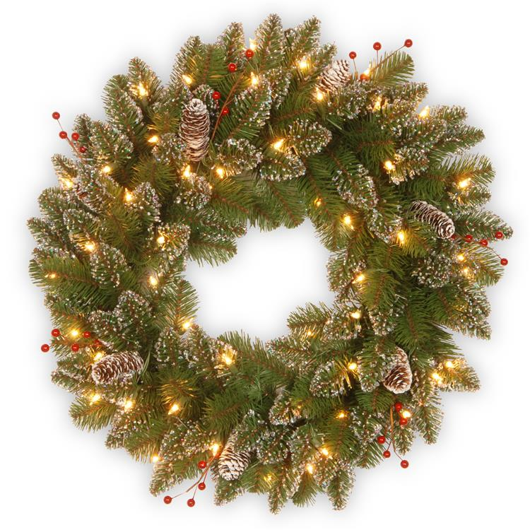 National Tree 24 inch Glittery Mountain Spruce with Battery Operated Warm White LED Lights [Item # GLM1-300-24W-B1]