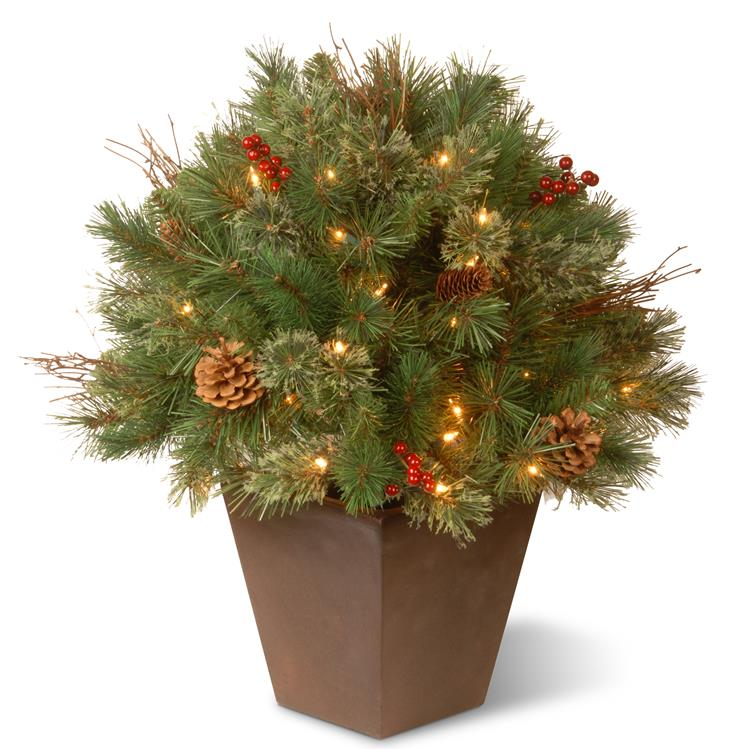 National Tree Glistening Pine Porch Bush with Clear Lights [Item # GN19-24TLO]