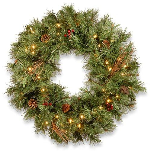 National Tree Glistening Pine Wreath with Battery Operated LED Lights [Item # GN19-300-30W-B]