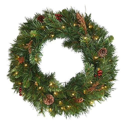 Glistening Pine Wreath with Battery Operated LED Lights