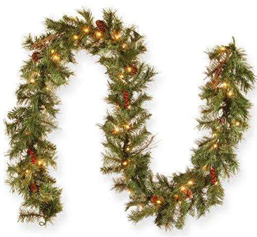 National Tree Glistening Pine Garland with Clear Lights