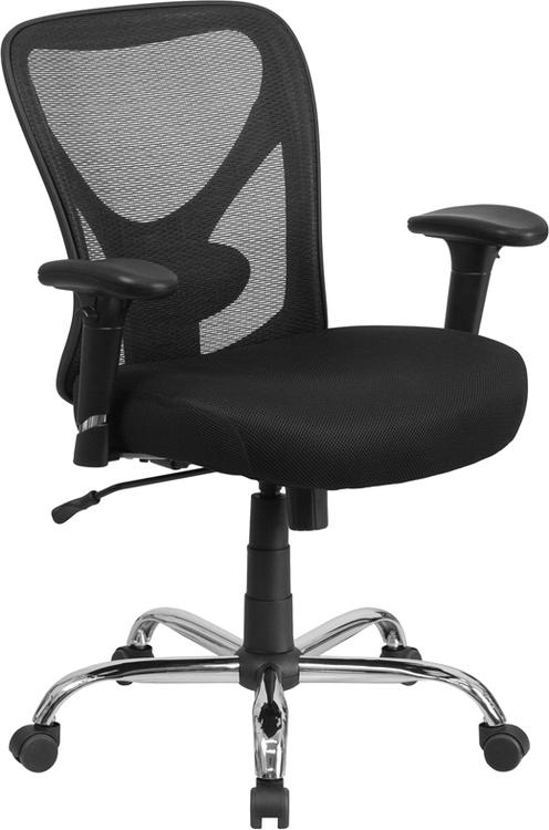 Flash Furniture Hercules Series Big & Tall 400 Lb. Rated Mesh Swivel Task Chair With Height Adjustable Back And Arms
