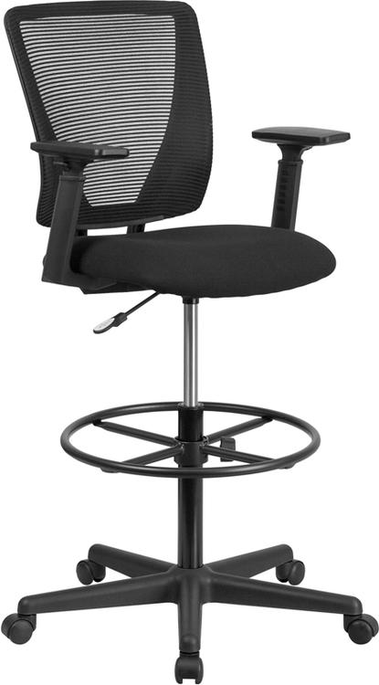 Flash Furniture Ergonomic Mid-Back Mesh Drafting Chair With Fabric Seat, Adjustable Foot Ring And Adjustable Arms
