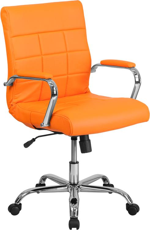 Mid-Back Vinyl Executive Swivel Chair With Base And Arms
