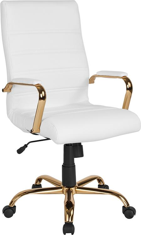 Flash Furniture High Back White Leather Executive Swivel Chair with Gold Frame and Arms
