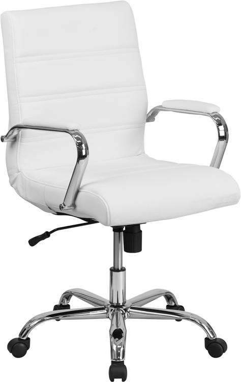 Mid-Back Leather Executive Swivel Chair With Base And Arms