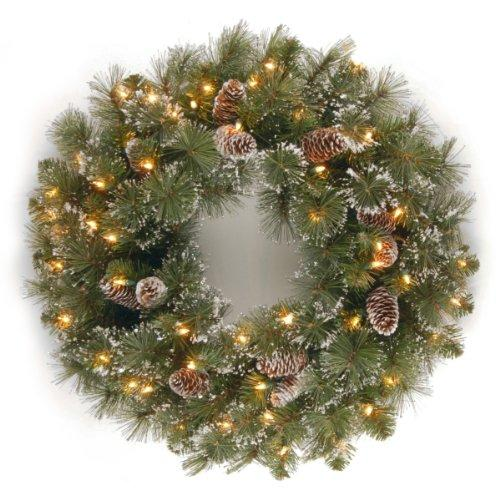 National Tree Glittery Pine Wreath with Clear Lights