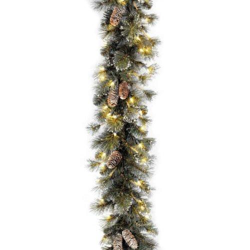 Glittery Pine Wreath with Clear Lights