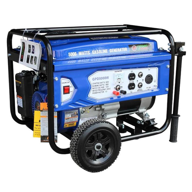 Gasoline Powered Portable Recoil Start Generator - 5000 Watts of starting power / 3850 Watts of continuous running power  with 223cc, 7.5HP and LCT Engine
