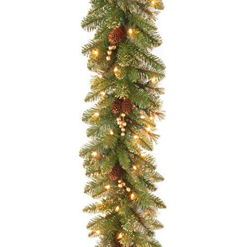 National Tree Glittery Gold Pine Garland with Clear Lights