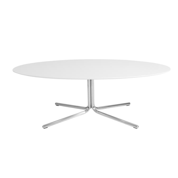 Kanto GRACE Oval Coffee Table with Brushed Stainless Steel Legs (Gloss White)