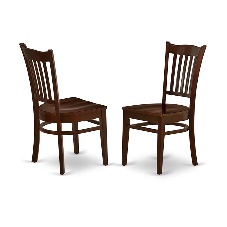 East West Furniture GRC-MAH-W Groton Dining Chair With Wood Seat In Mahogany Finish Set of 2