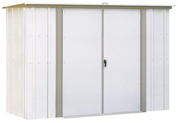 Arrow Sheds Garden Shed, 8x3, Electro Galvanized Steel, Coffee / Taupe, Lean-to Roof, 62