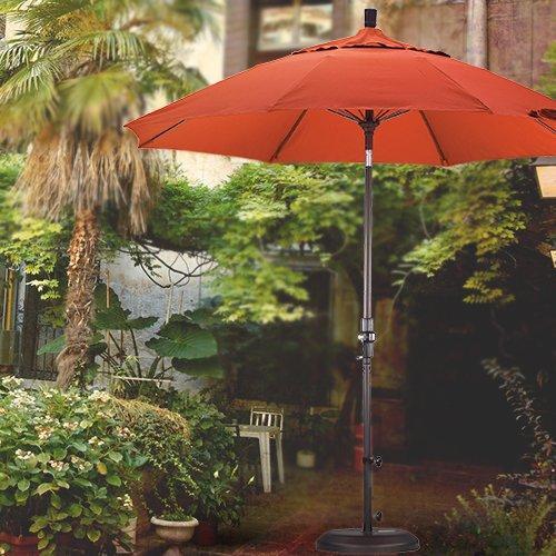 California Umbrella 9' Sun Master Series Patio Umbrella With Fiberglass Ribs Collar Tilt Crank Lift