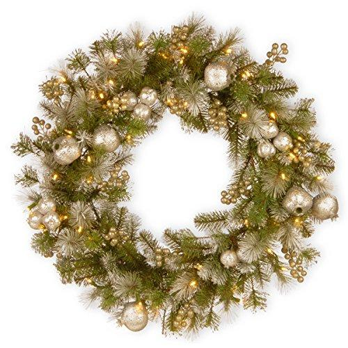National Tree Glittery Pomegranate Pine Wreath with Battery Operated LED Lights