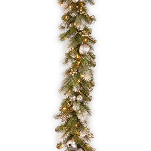 National Tree Glittery Pomegranate Pine Garland with Clear Lights