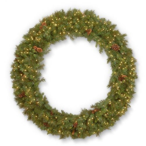 National Tree Garwood Spruce Wreath with Warm White LED Lights