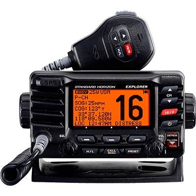VHF, Explorer GPS, Opt. Remote, Black