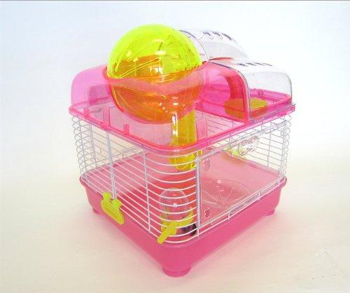 H1010 Clear Plastic Dwarf Hamster, Mice Cage with Ball on Top, Pink