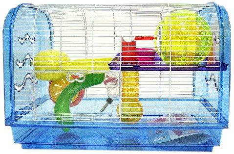 H1812A Clear Plastic Dwarf Hamster, Mice Cage, Dome with Color Accessories, Blue