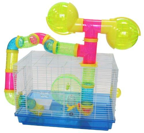 Dwarf Hamster, Mice Cage, with Color Tubes and Accessories, Blue
