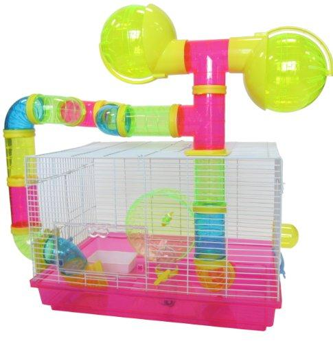 Dwarf Hamster, Mice Cage, with Color Tubes and Accessories, Pink