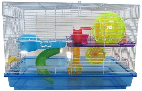 H1812 Clear Plastic Dwarf Hamster, Mice Cage with Color Accessories, Blue