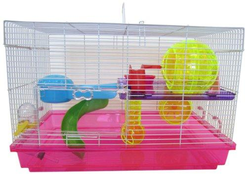 H1812 Clear Plastic Dwarf Hamster, Mice Cage with Color Accessories, Pink