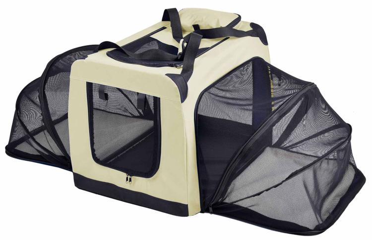 Pet Life ® 'Hounda Accordion' Metal Framed Soft-Folding Collapsible Dual-Sided Expandable Pet Dog Crate