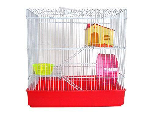 H820 3 Level Hamster Cage, Red