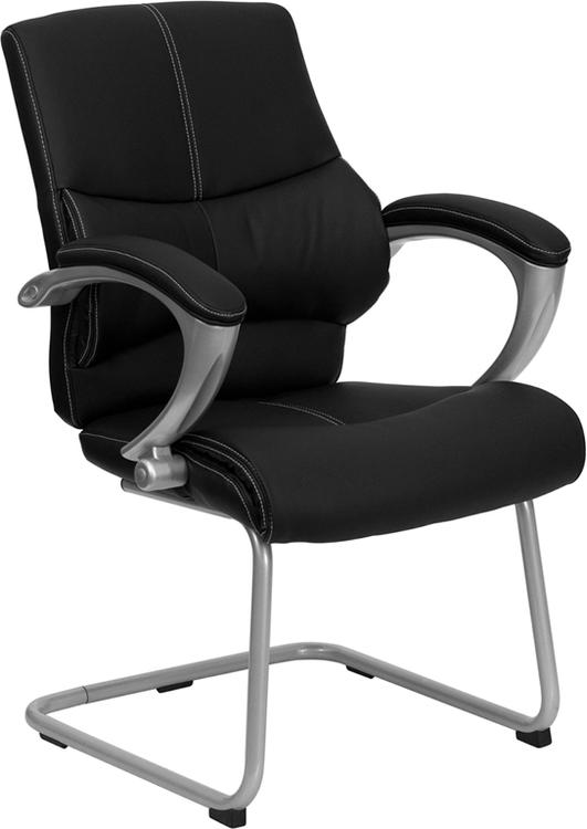 Leather Executive Side Reception Chair With Silver Sled Base