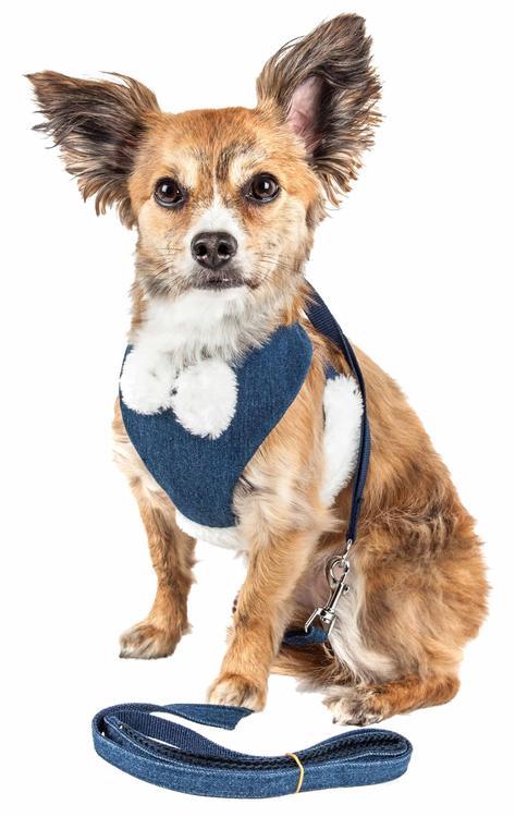 Pet Life ® Luxe 'Pom Draper' 2-In-1 Mesh Reversed Adjustable Dog Harness-Leash W/ Pom-Pom Bowtie [Item # HA26BLSM]