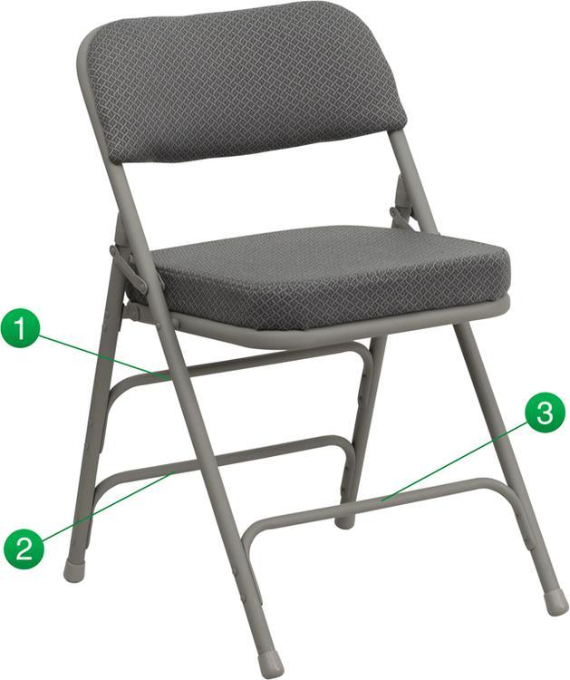 Hercules Series Premium Curved Triple Braced & Double Hinged Fabric Metal Folding Chair
