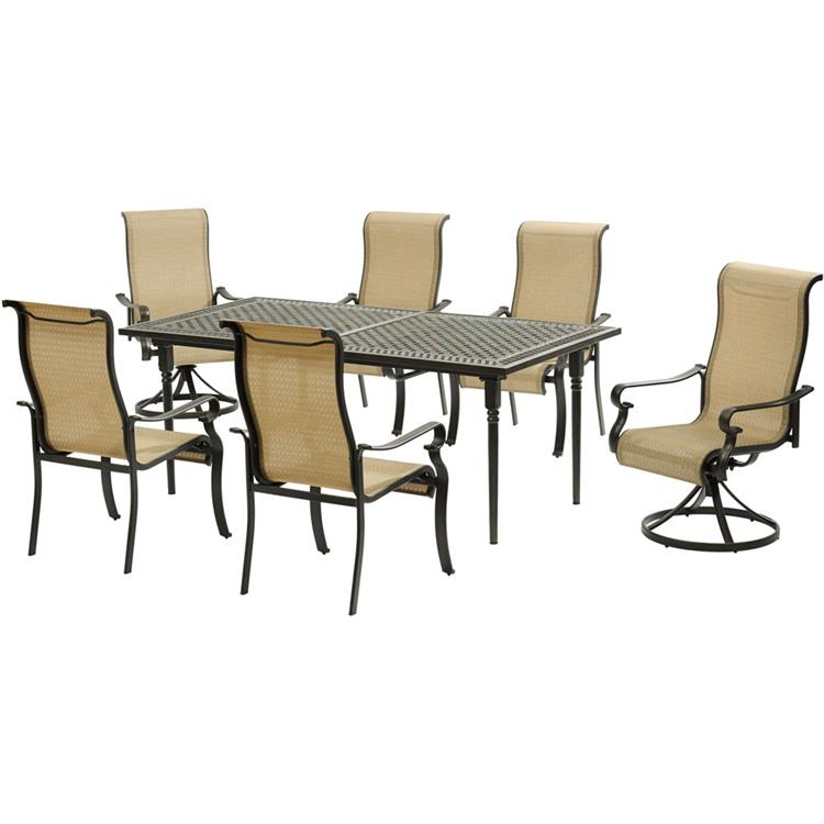 Hanover Brigantine 7-Piece Dining Set with an Expandable Cast-Top Dining Table, 2 Sling Swivel Rockers, and 4 Sling Dining Chairs [Item # HANFRBBRIGDN7PCSW2-EX]