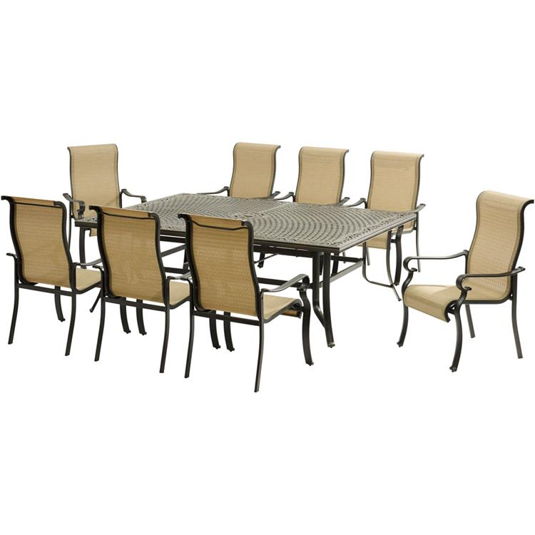 Hanover Brigantine 9-Piece Dining Set with an XL Cast-Top Dining Table and 8 Sling-back Dining Chairs [Item # HANFRBBRIGDN9PC]