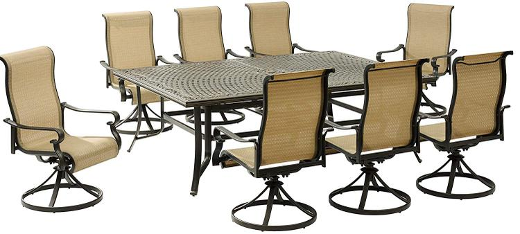Hanover Brigantine 9-Piece Dining Set with an XL Cast-Top Dining Table and 8 Sling-back Swivel Rockers