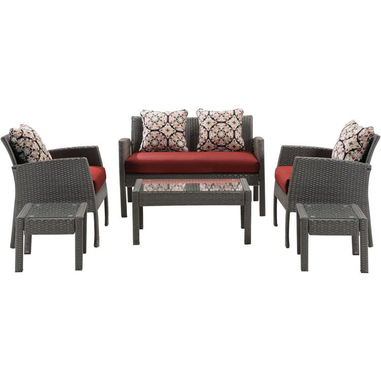 Hanover Chelsea 6-Piece Space-Saving Patio Set in Crimson Red