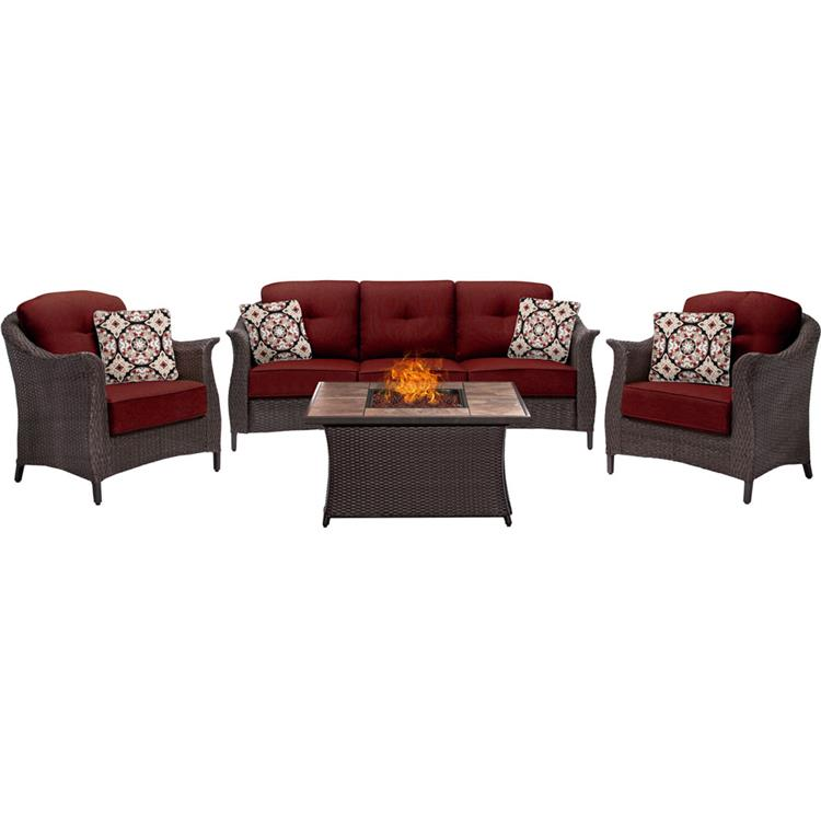 Hanover Gramercy 4-Piece Woven Fire Pit Set in Country Cork