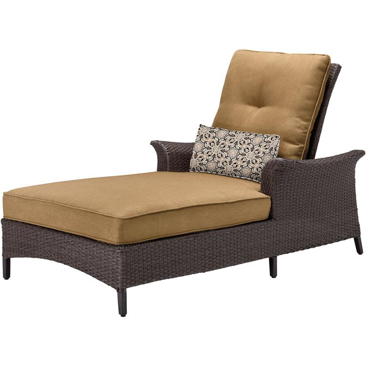 Hanover Gramercy Woven Chaise Lounge Chair with Country Cork Cushions and Lumbar Accent Pillow [Item # HANFRBGRAMERCY1PC-TAN]