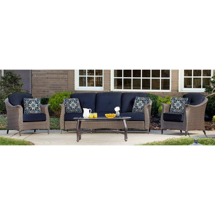 Hanover Gramercy 4-Piece Seating Set in Navy Blue