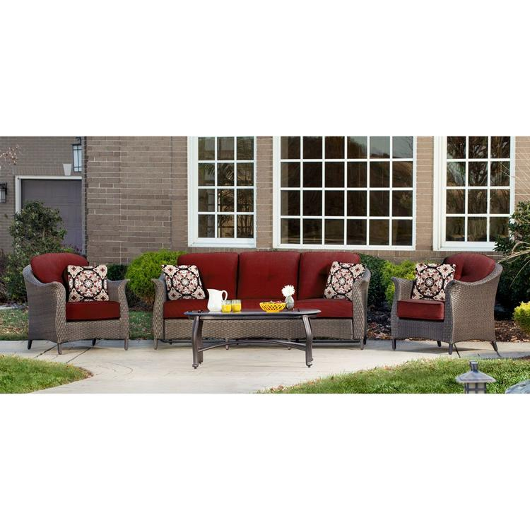 Hanover Gramercy 4-Piece Seating Set in Crimson Red