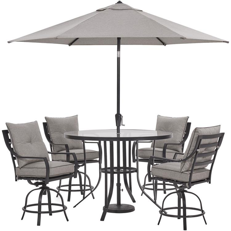 Hanover Lavallette 5-PC. Counter-Height Dining Set in Silver Linings w/ 4 Swivel Chairs, 52-In. Round Glass-Top Table, Umbrella, Base [Item # HANFRBLAVDN5PCBR-SLV-SU]