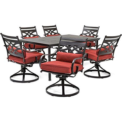 Montclair 7-Piece Dining Set in Chili Red with 6 Swivel Rockers and a 40