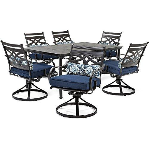 Montclair 7-Piece Dining Set in Navy Blue with 6 Swivel Rockers and a 40