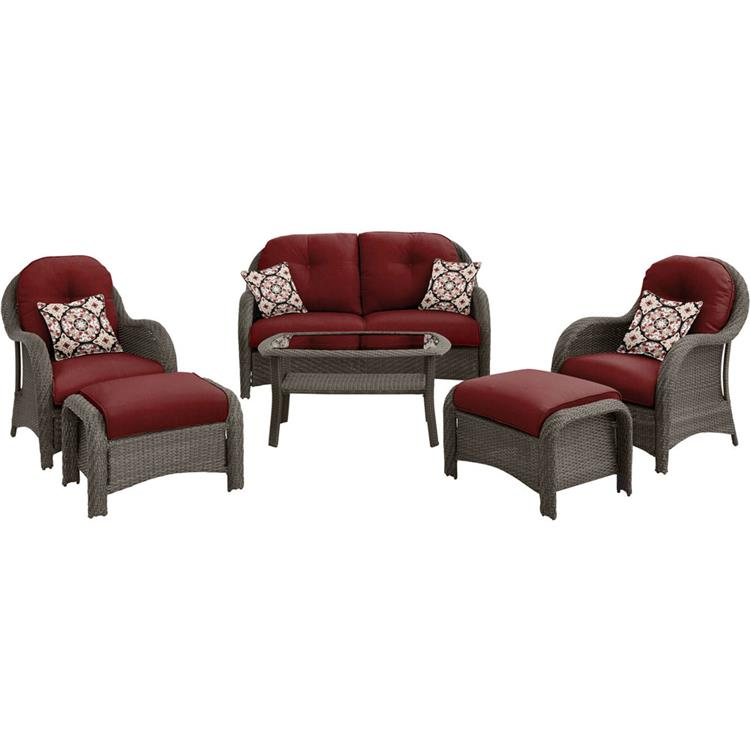 Hanover Newport 6-Piece Woven Seating Set in Crimson Red