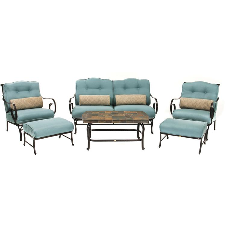Hanover Oceana 6-Piece Patio Set in Ocean Blue with a Stone-top Coffee Table