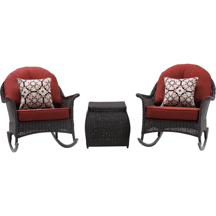 Hanover San Marino 3-Piece Rocking Chat Set in Country Cork [Item # HANFRBSMAR-3PC-RED]